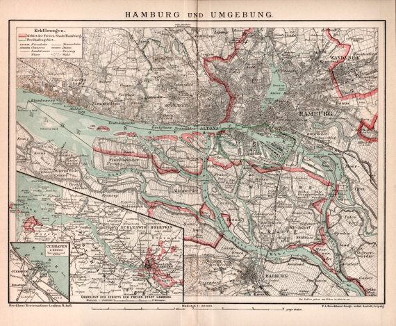 1898 Hamburg City Map Hannover And Schleswig Holstein Provinces