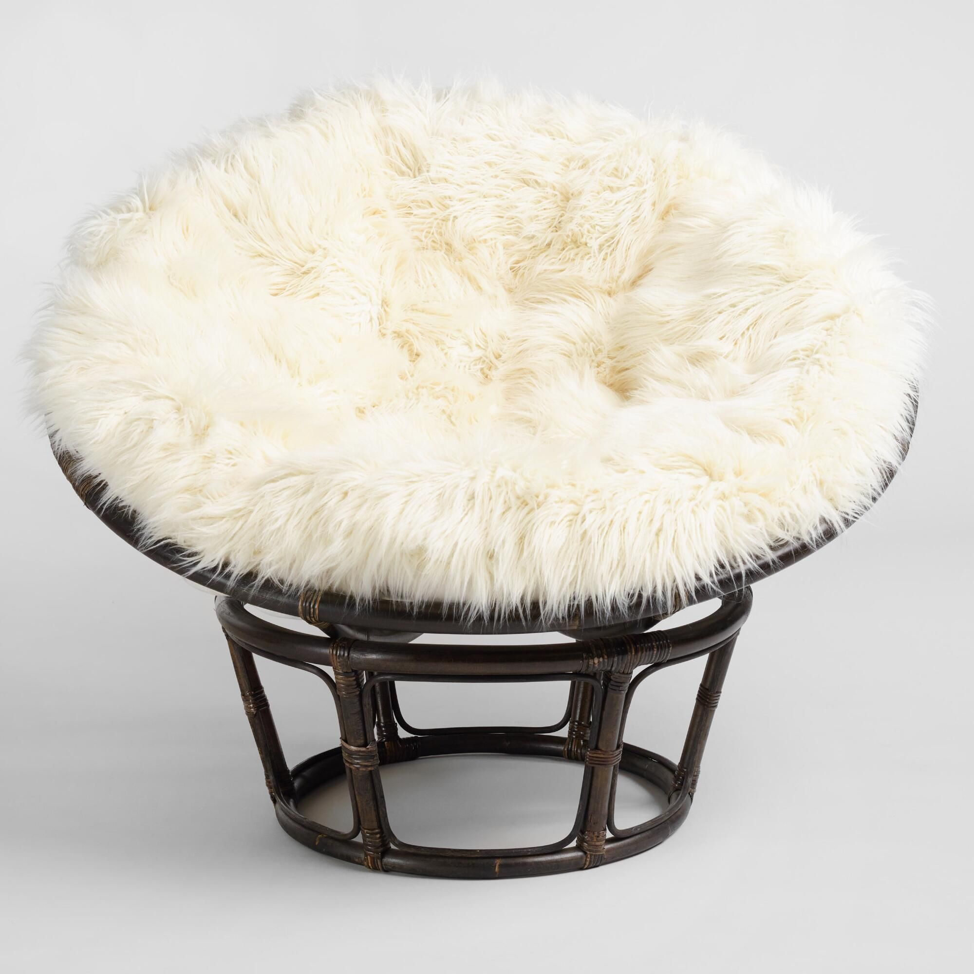 Remarkable Ivory Mongolian Faux Fur Papasan Cushion White Chair Alphanode Cool Chair Designs And Ideas Alphanodeonline