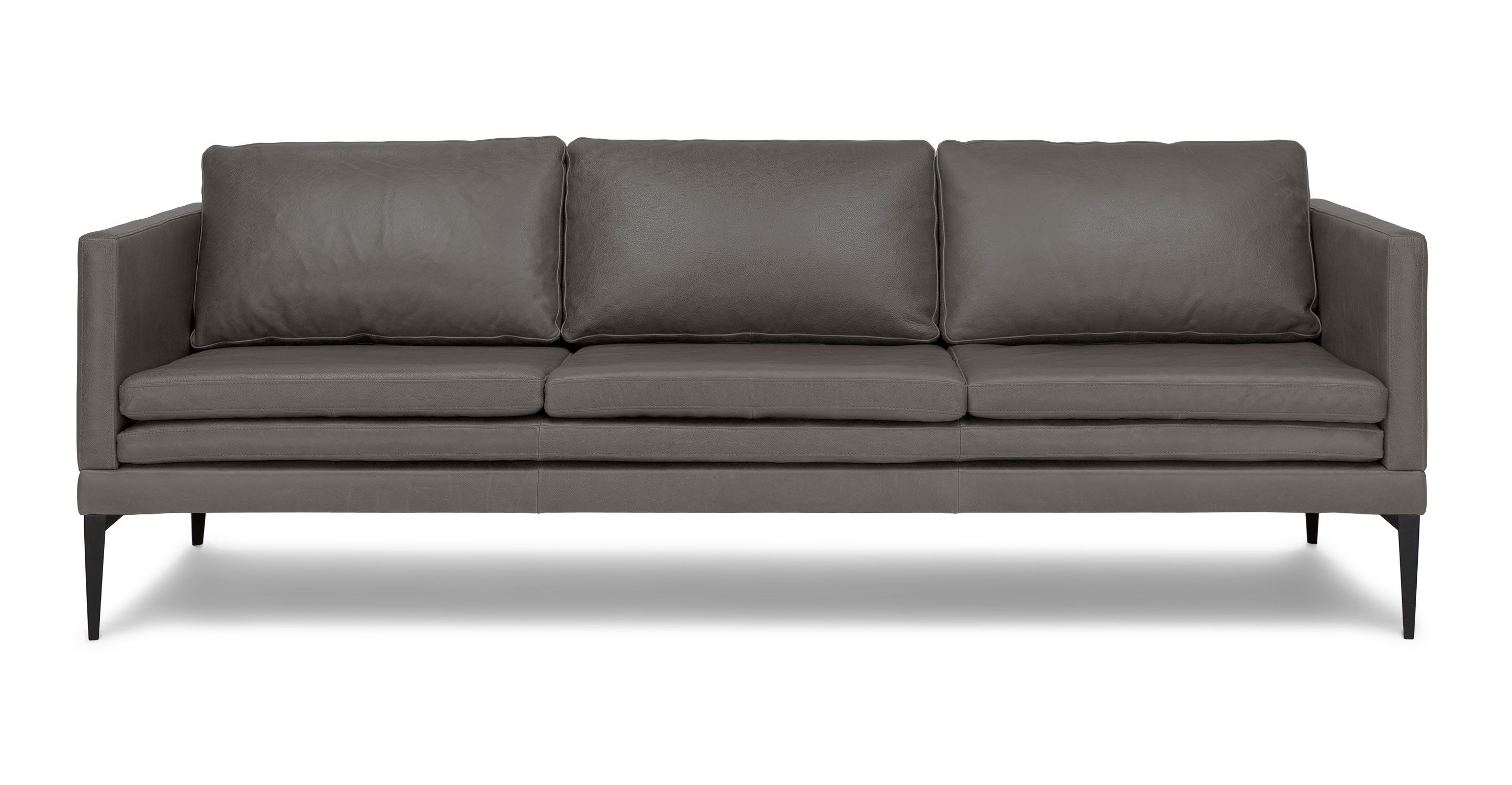 gray leather sofa with metal legs  article triplo contemporary furniture. gray leather sofa with metal legs  article triplo contemporary