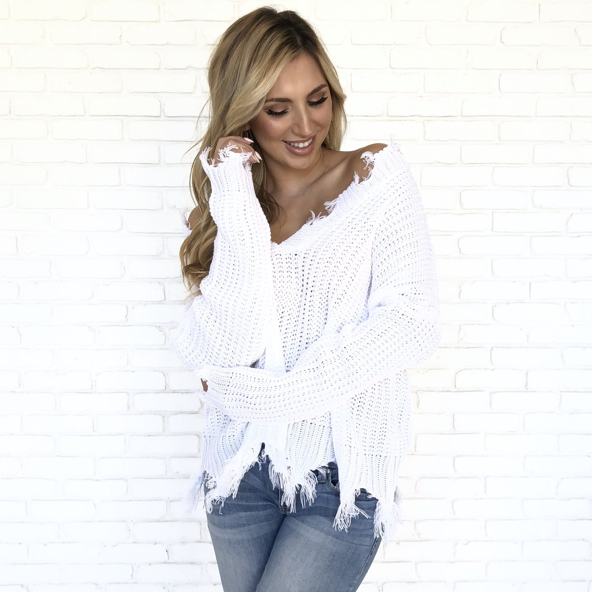 4c9d53144e4bcf Jagged Edge Knit Sweater In White | Sweater Weather | Sweaters ...