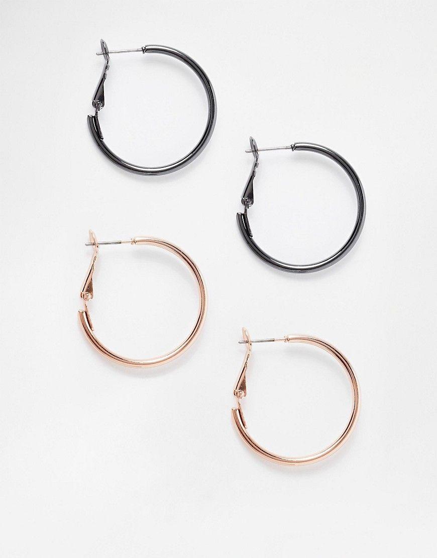Image 1 ofASOS Pack of 2 Simple Hoop Earrings