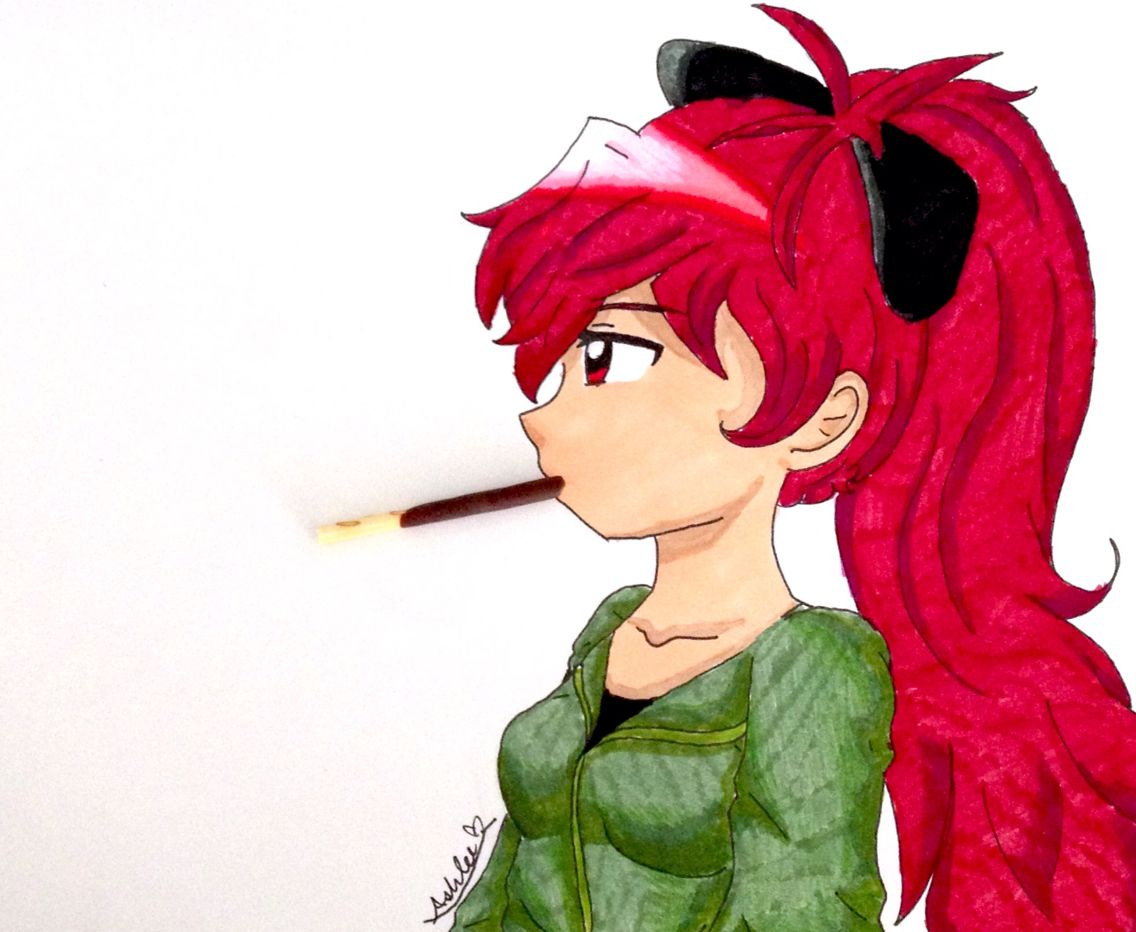 Kyoko Sakura!! I really love how this turned out X3 No, I didn't draw the pocky. I used my own pocky. I wanted it to look as realistic as possible. By: @ashlee0156