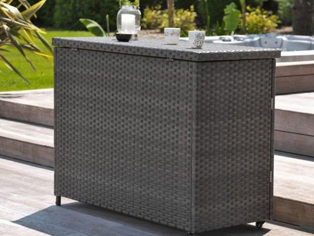 Coffre Bar D Exterieur Mobile Zanzibar En Resine Tressee Marron En 2020 Coffre Bar Deco Terrasse Salon De Jardin