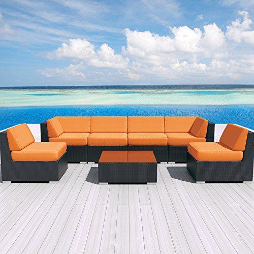 Luxxella Patio Outdoor Wicker Furniture Sunbrella Genuine Collection Bella 7-piece Couch Sectional Sofa Set (Canvas Tangerine 5406)