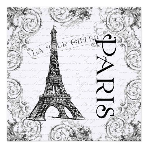 Paris Eiffel Tower French Scrolls