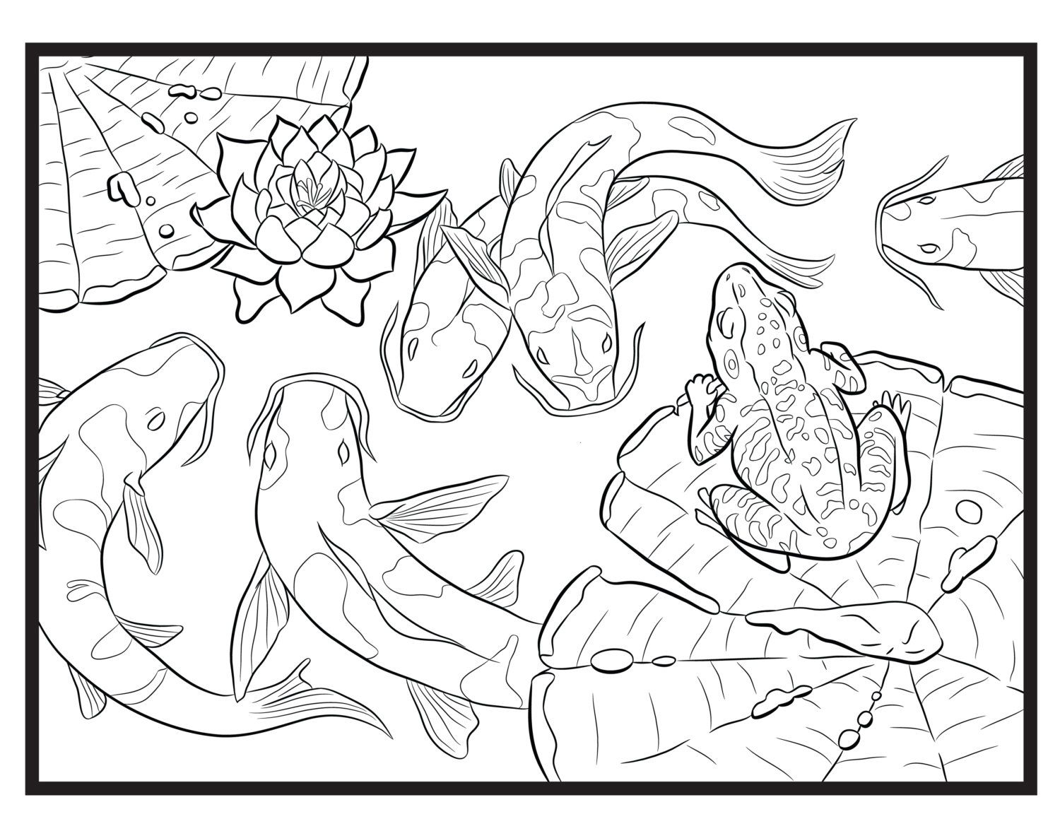 Koi and Frog, Single Coloring Page Coloring pages