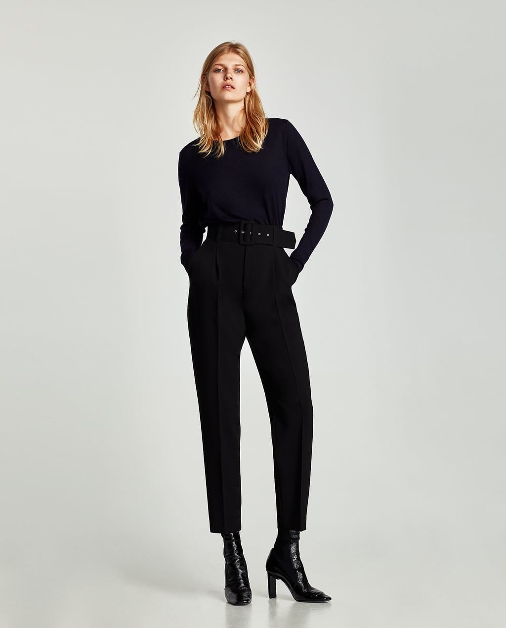 923a9534 CREPE TROUSERS WITH BELT-View all-TROUSERS-WOMAN | ZARA Macedonia ...