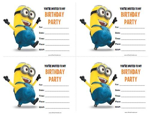 Minions Birthday Invitations All Free Printable Pinterest - Party invitation template: minion birthday party invitations templates
