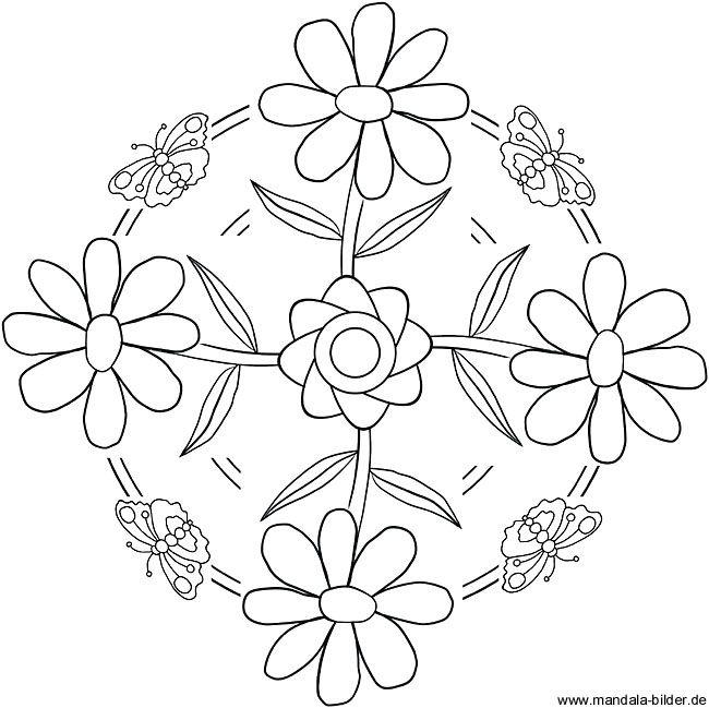 spring mandala with flowers fr hling mandala mit blumen mandala pinterest mandala. Black Bedroom Furniture Sets. Home Design Ideas