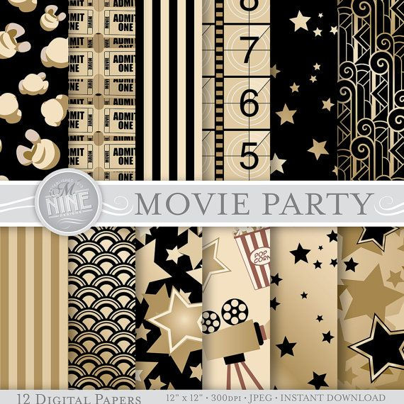 Vintage Movie Party Prints Digital Paper 12 X 12 Pattern Print