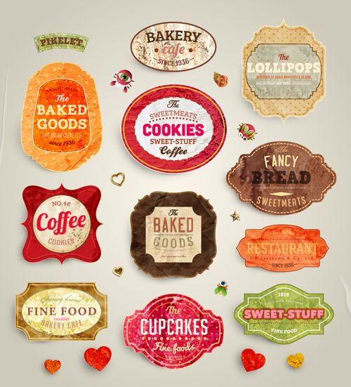 Cute Food Labels design vector 01 : Labels and Tags ...