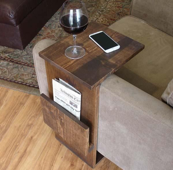 The Size Of The Handmade Sofa End Table With Side Storage Slot Is  Customizable As Needed
