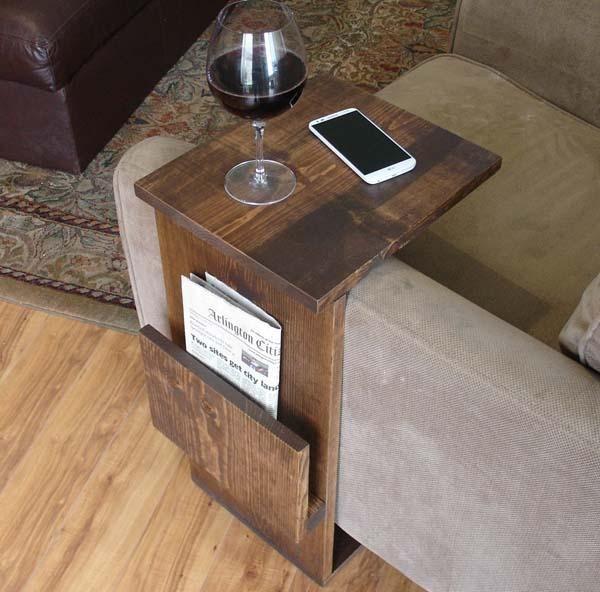 The Handmade Sofa End Table With Side Storage Slot Gadgetsin