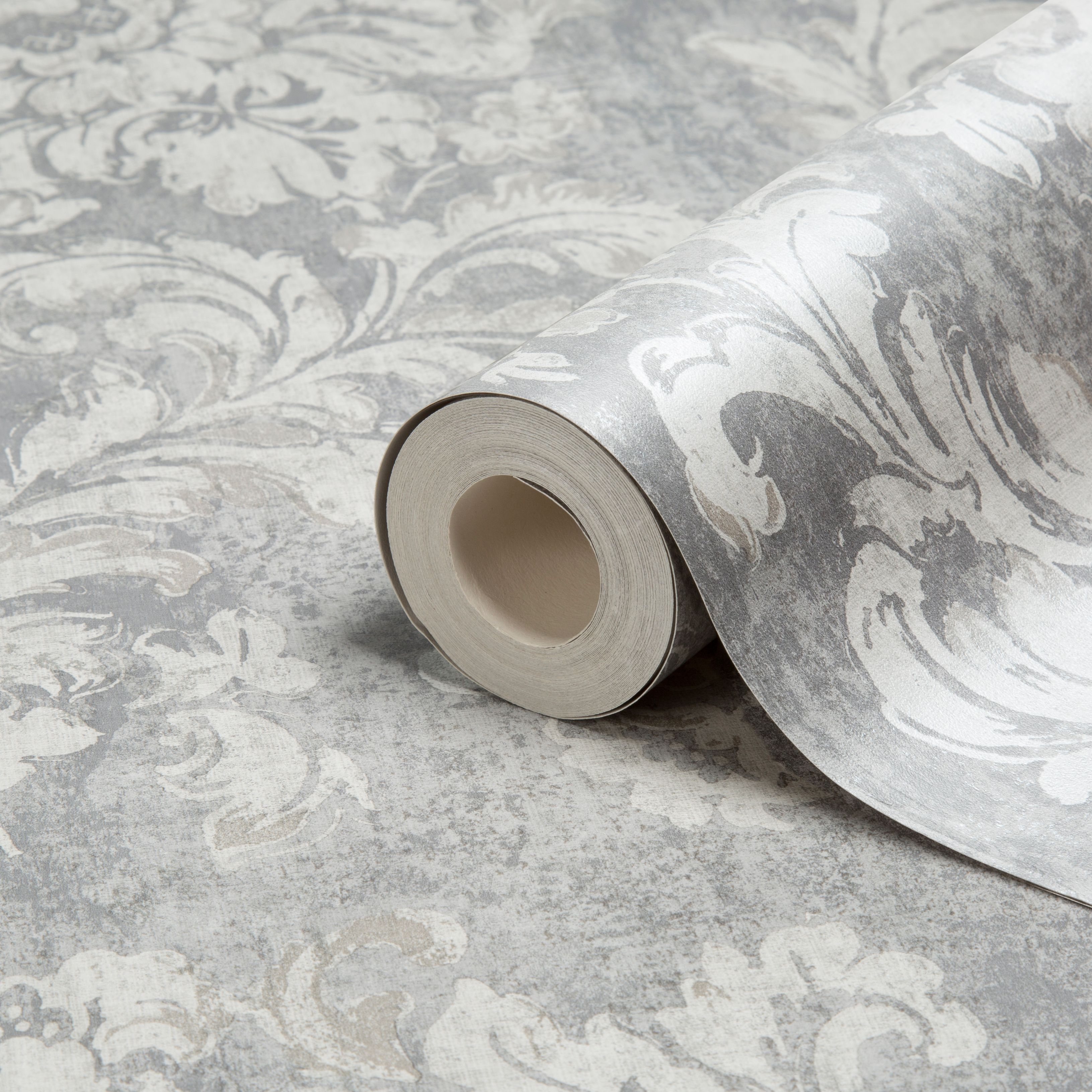 Home diy wallpaper illustration arthouse imagine fern plum motif vinyl - Gold Decadent Trail Light Grey Damask Metallic Wallpaper B Q For All Your Home And Garden Supplies And Advice On All The Latest Diy Trends