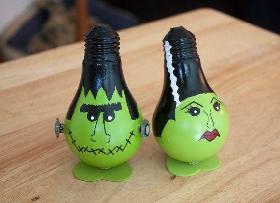 Frankenstein And Bride Of Frankenstein Set Light Bulb Ornaments For Halloween Light Bulb Ornaments Light Bulb Crafts Painted Light Bulbs