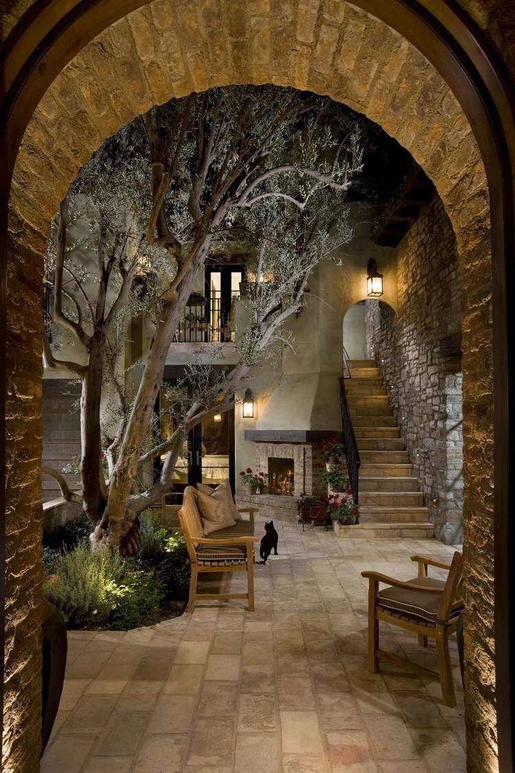 Cozy courtyard . . #interiordesign #cozyplace #rustic #homedecoration