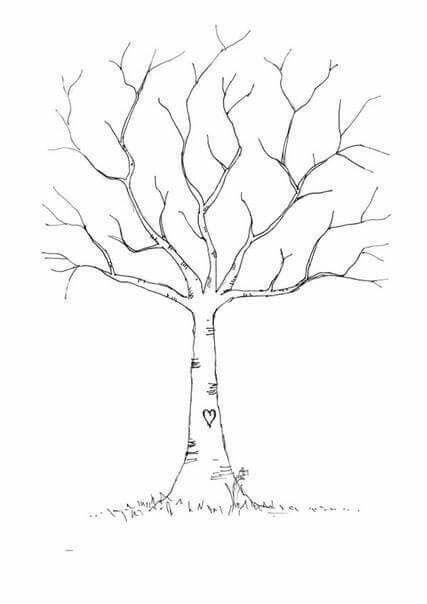 Wedding Diy Fingerprint Tree Template To Download Print Onefabday Com Sonbahar Agaclari Stensiller Boyama Sayfalari