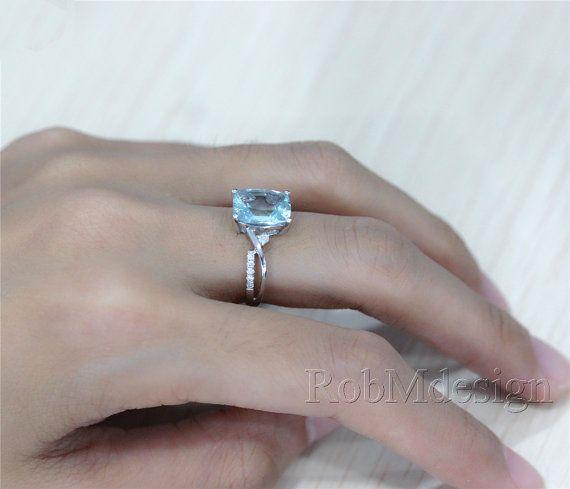 8 10mm VS Aquamarin-Ring H/SI Diamant 14K Weissgold von RobMdesign