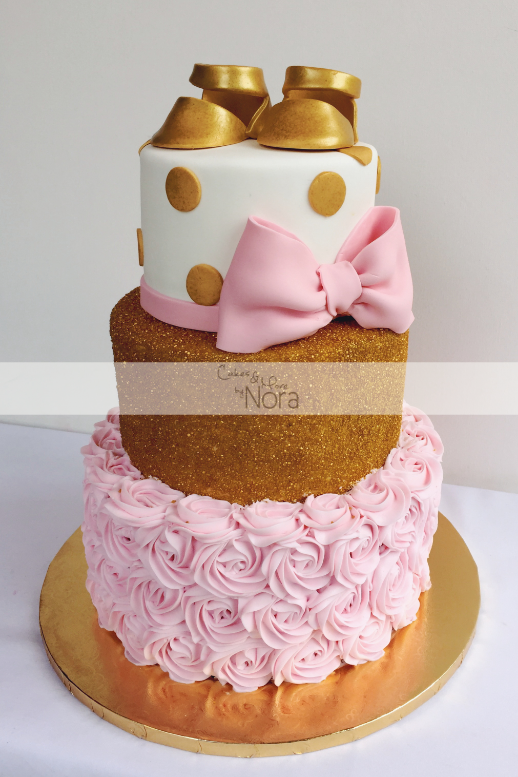 pink and gold baby shower cake pink and gold baby shower cake cakes and more by nora 6554
