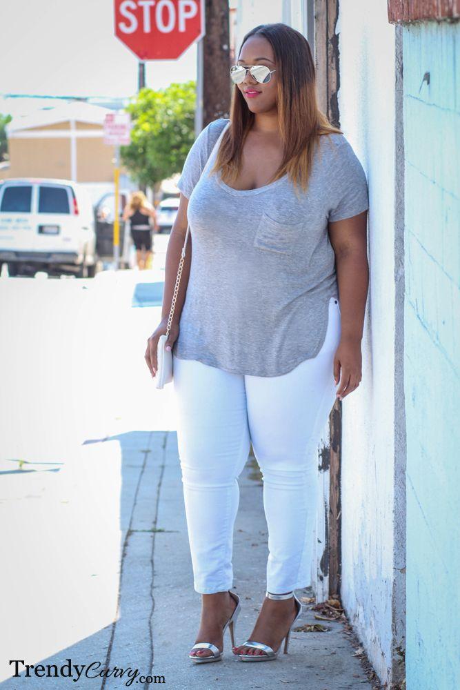 White Jeans - Plus Size Fashion - trendycurvy.com
