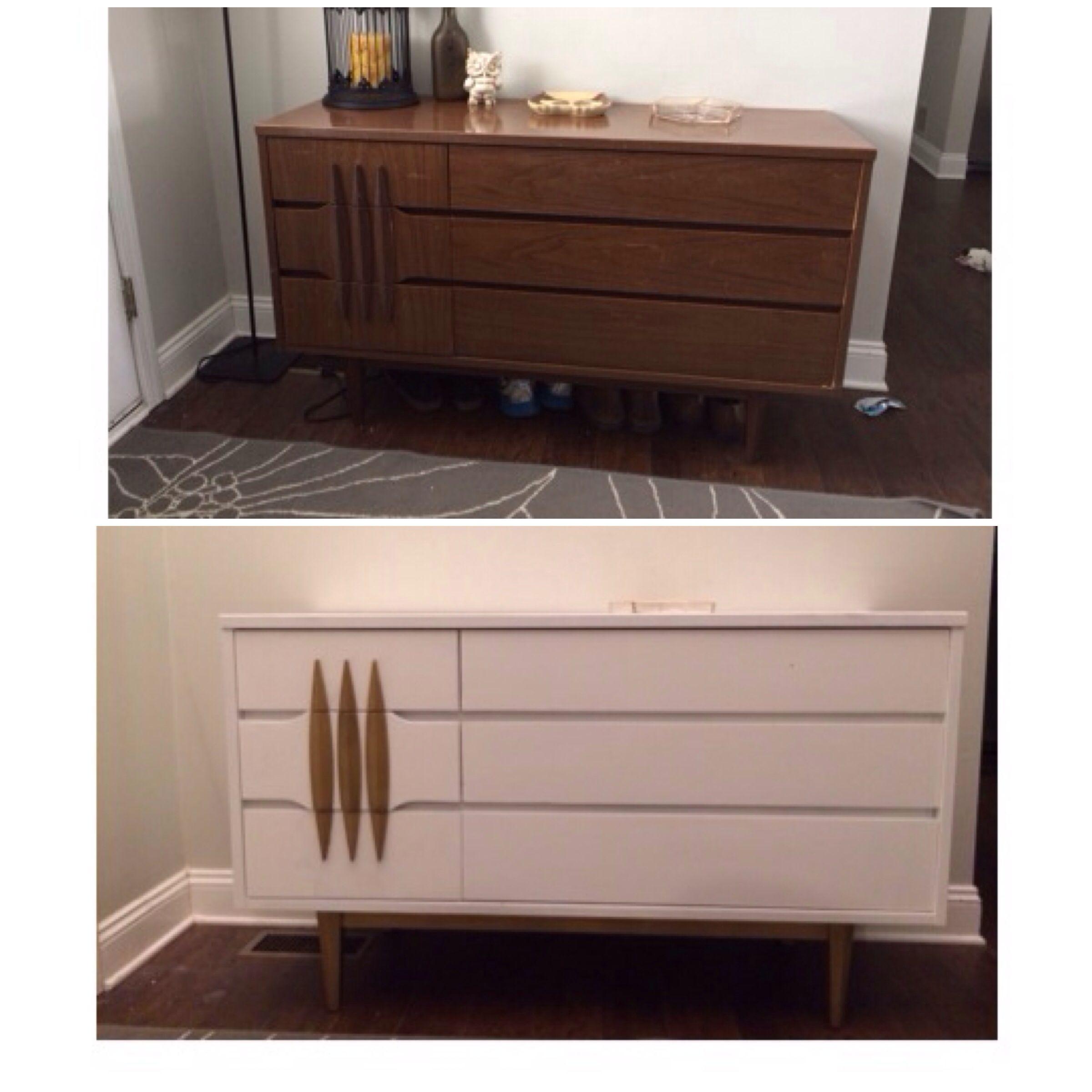 Painted Mid Century Modern Dresser #mcm #kroehler #gold