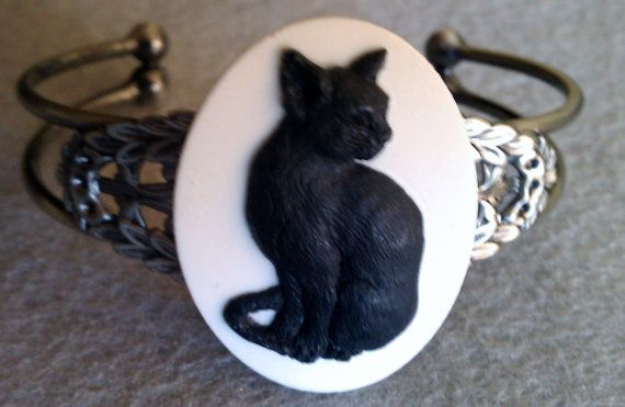 Cat Cat cameo Cat cuff cat bracelet ready to by msformaldehyde, $20.00