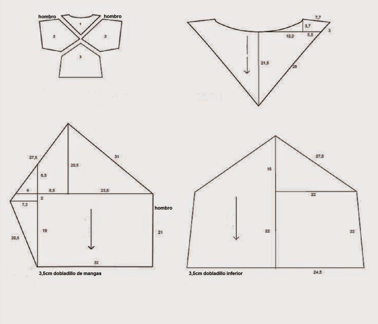 Patrón gratis: top de piezas geométricas | Patrón gratis, Patrones y ...