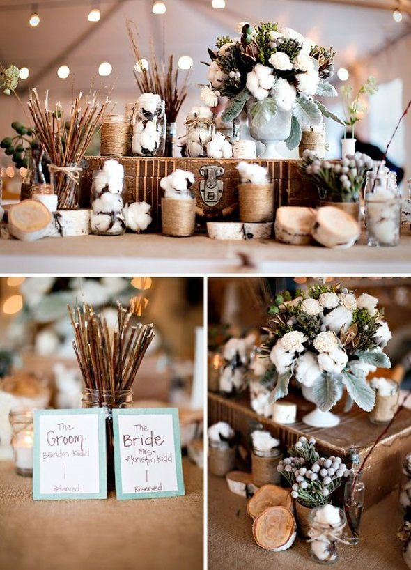 Loving the balance of cotton, wood, and earthy shades this bride and groom incorporated into their decor.  Not too cold, not too warm, it sits just right.  Curtousy of Allison Silber on ColourLovers.com