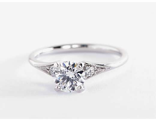 Heirloom Petite Milgrain Engagement Ring In 14k White Gold Blue Nile Milgrain Engagement Ring Designer Engagement Rings Unique Diamond Rings