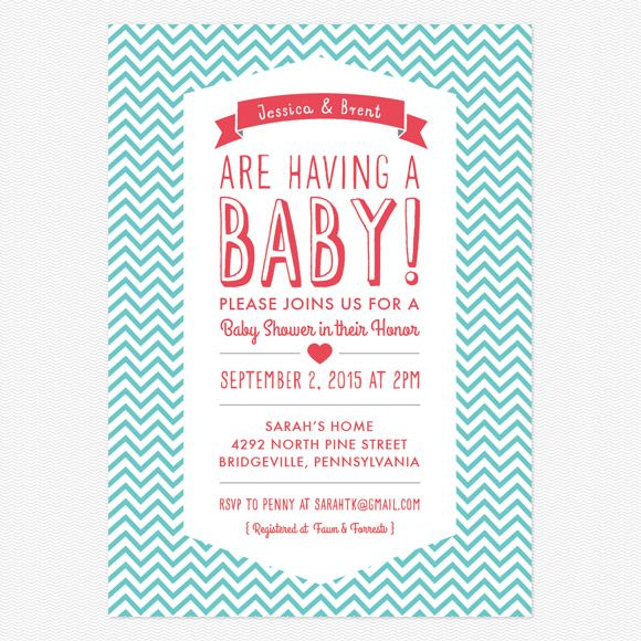 Chevron Baby Shower Invitations Birth Announcements Pinterest