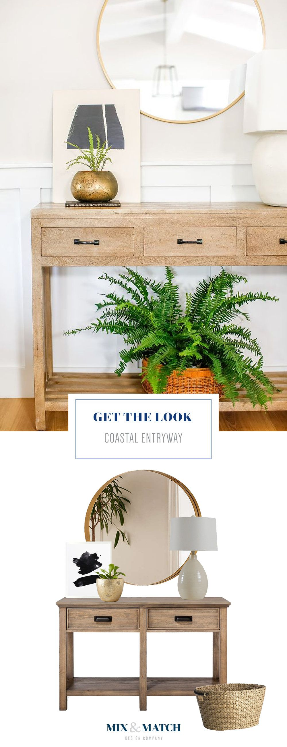 foyer console table and mirror. Get The Look Of This Coastal Inspired Entryway. Pair A Console Table With Round Mirror, And Add Few Accessories To Finish Look! Foyer Mirror