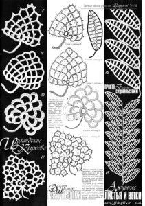 A collection of patterns - Irish lace: motives, butterflies #irishlacecrochet A collection of crochet patterns Irish lace leaves #irishlacecrochet