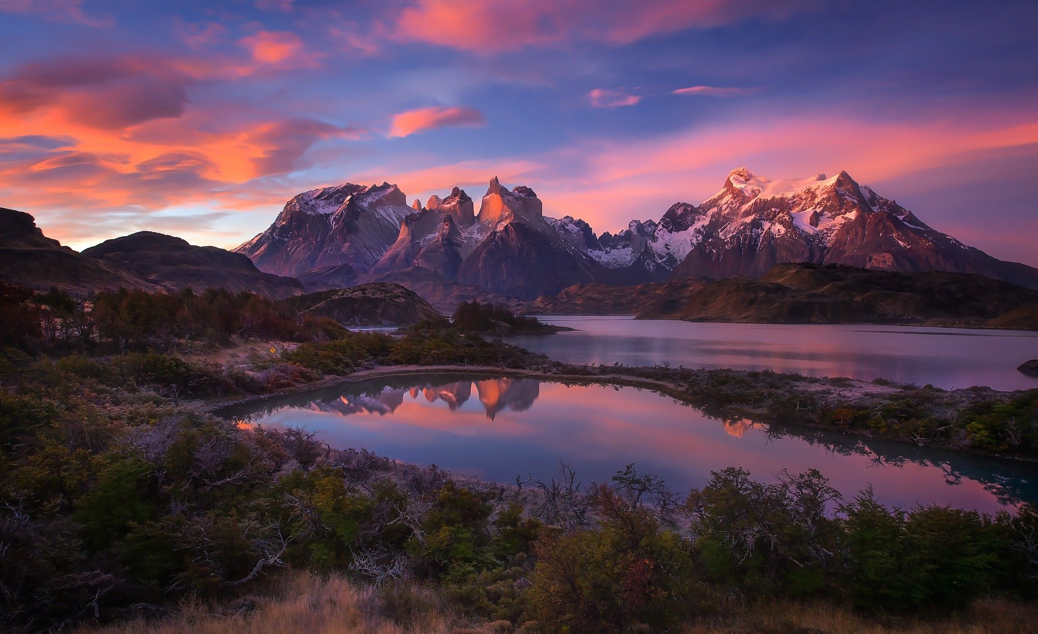 Nature Landscape Mountain Lake Sunrise Shrubs Snowy Peak Clouds Torres Del Paine Chile Patagonia Wallpapers Hd Desktop And Mobile Backgrounds Landscape Photography Nature Sunset Landscape Beautiful Nature Pictures