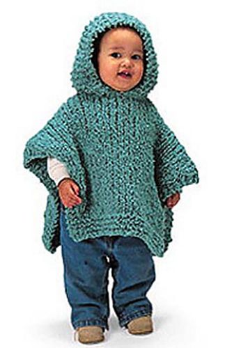 Ravelry: Hooded Baby Poncho #1108 pattern by Lion Brand Yarn