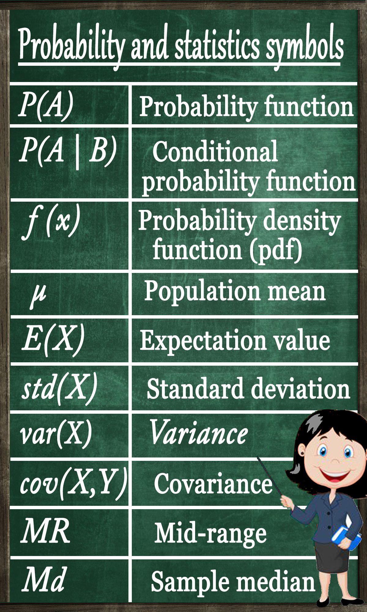 Symbols For Probability And Statistics Mathematics Pinterest