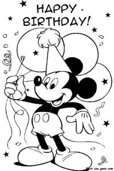 Printable Mickey Mouse Disney Happy Birthday Coloring Pages