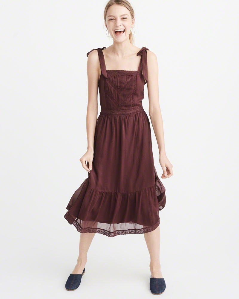 a16bfc9e76a8 A&F Women's Tie-Shoulder Midi Dress | Products | Dresses, Jumpsuit ...