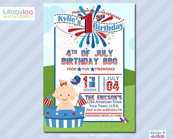 4TH Of July Birthday Invitations 433 By LullabyLoo On Etsy 1800