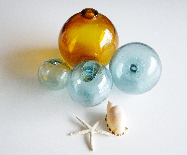 Vintage, Glass Fishing Floats, Glass Buoy, Amber, Aqua ...