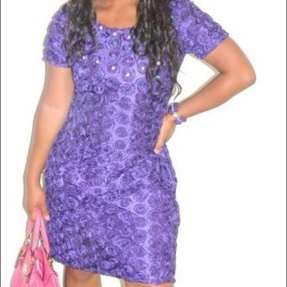 CLEARANCE Above the knee fitted African dress Purple fitted above the knee dress. This is like brand new. Dresses Mini