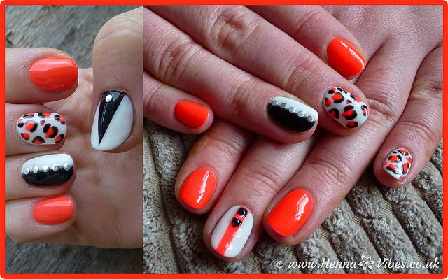 Orange Black White Gelish