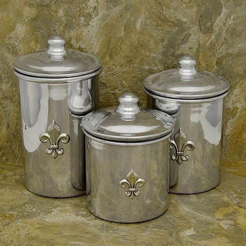 de lis canisters for the kitchen fleur de lis stainless steel small canister set decor le