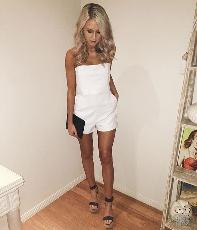 emilyvenz snapped in the Taylor Playsuit   Vacation Wedges 93abe5443