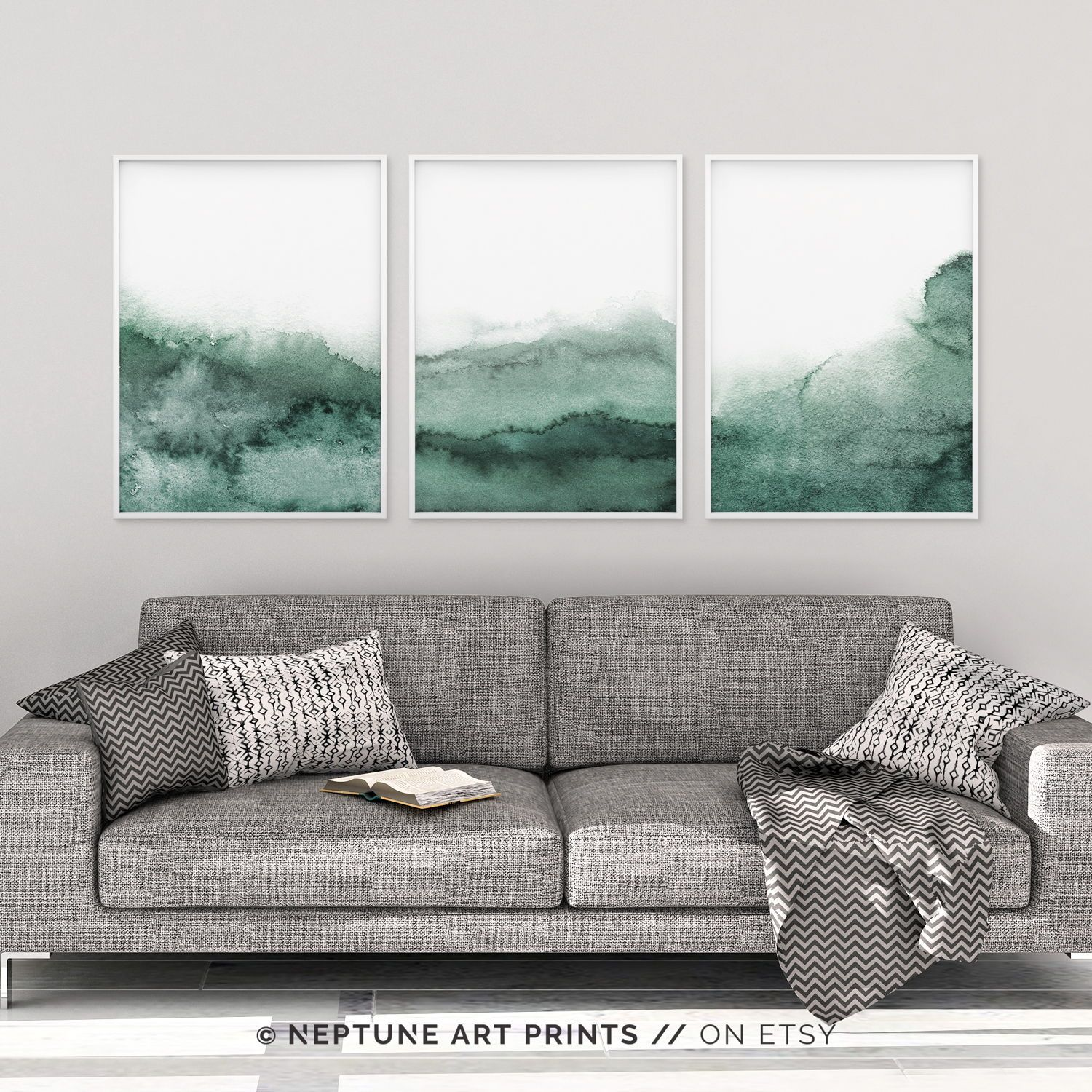 Sage Green Wall Art Forest Green Printable Art Watercolor Print