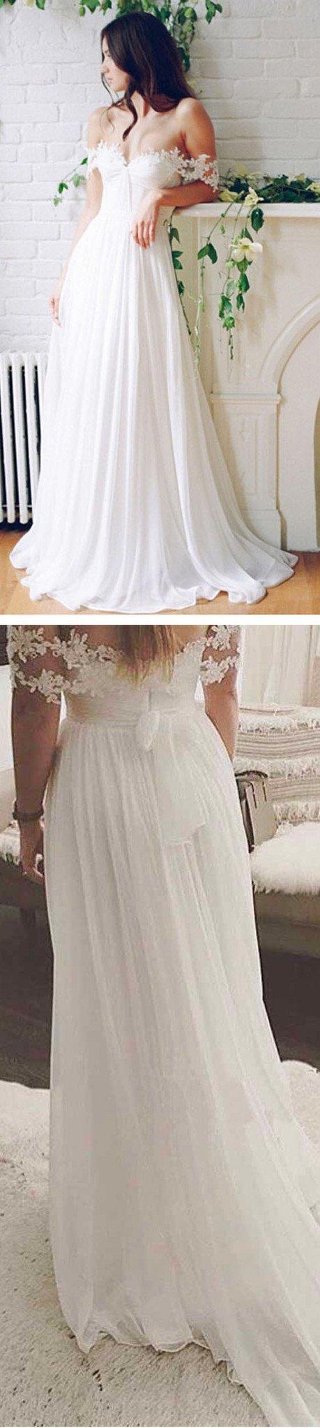 popular off shoulder long aline white chiffon sexy lace