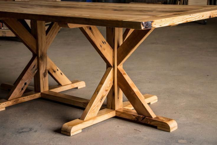 "Reclaimed ""X"" Trestle Dining Table 