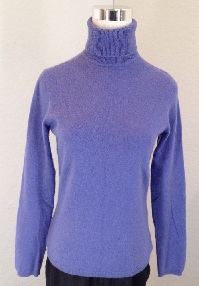 24.96 Charter Club 100% Cashmere 2-Ply Turtleneck Sweater Womens S  Periwinkle Blue  CharterClub  TurtleneckMock a3ed1d870