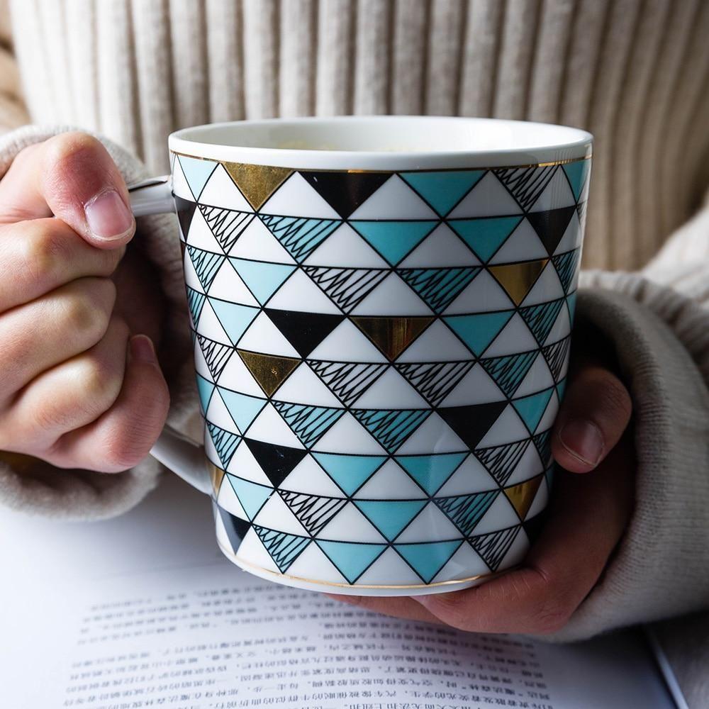 Oversized Geometric Coffee Mug Mugs, Coffee mugs
