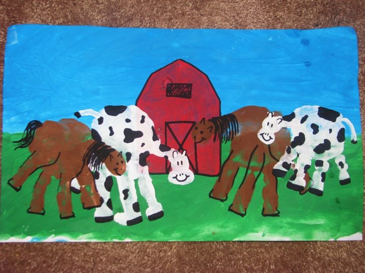 """I plan to do this with my family, except add in a pig and maybe a sheep, and of course our dog's print too...on canvas...""""Welcome to our Farm"""""""