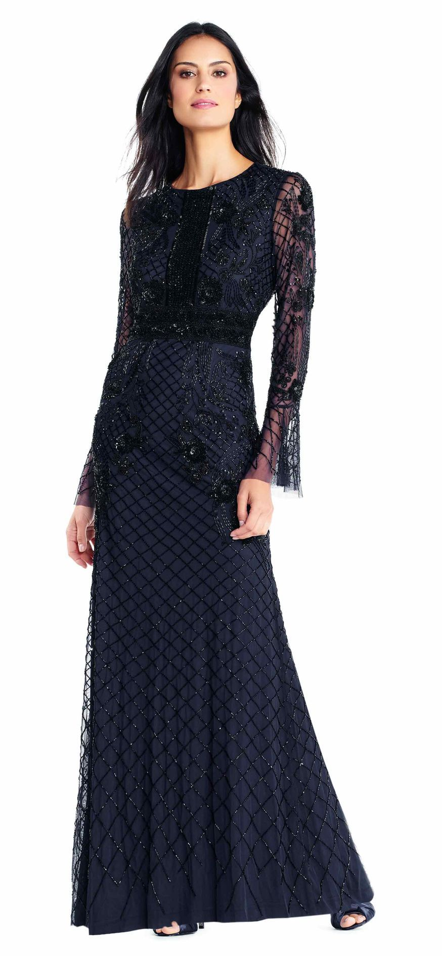 Adrianna Papell | Sheer Long Sleeve Beaded Gown with 3D Sequin ...